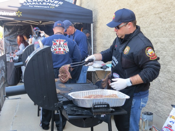 firefighter Danny Pinto cooking his smokey Steaks with Sweet Onion Marinade