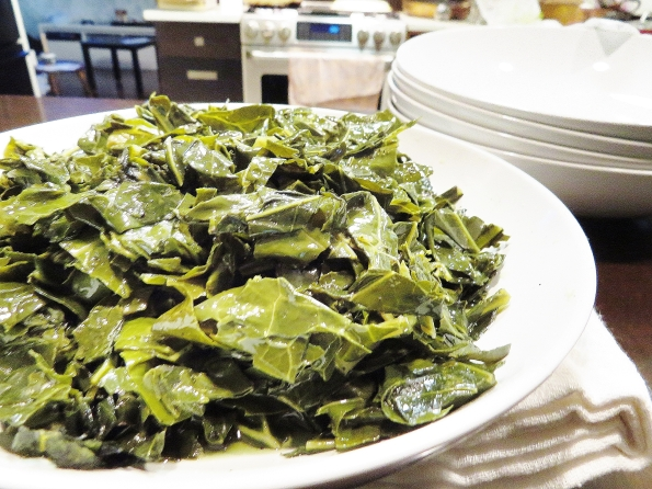 Can't forget the greens. Dad sautes his collards in olive oil until they're tender then adds a pinch of sugar.