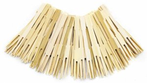 party forks, bamboo