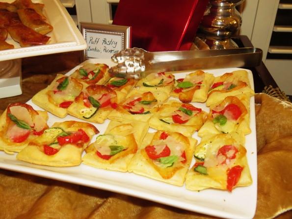 puff pastry, tarts, tomato, zucchini, Parmesan, basil