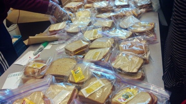 Over 4,400 sandwiches were prepared by a small army of volunteers through Hop, Skip and Serve for Martin Luther King Day
