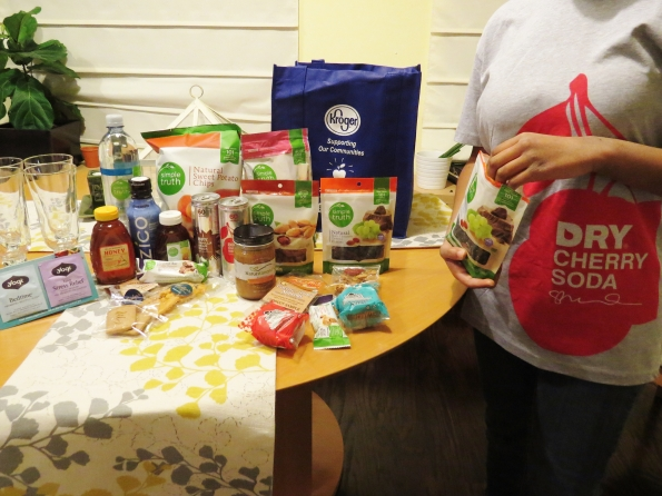 This Natural food swag  and gift card from Kroger were a great blogger treat.  They had one of my daughter's favorite snacks, chocolate covered raisins, and a cool T-shirt that she claimed.  My son devoured the sweet potato chips and asked me to buy more the next day.