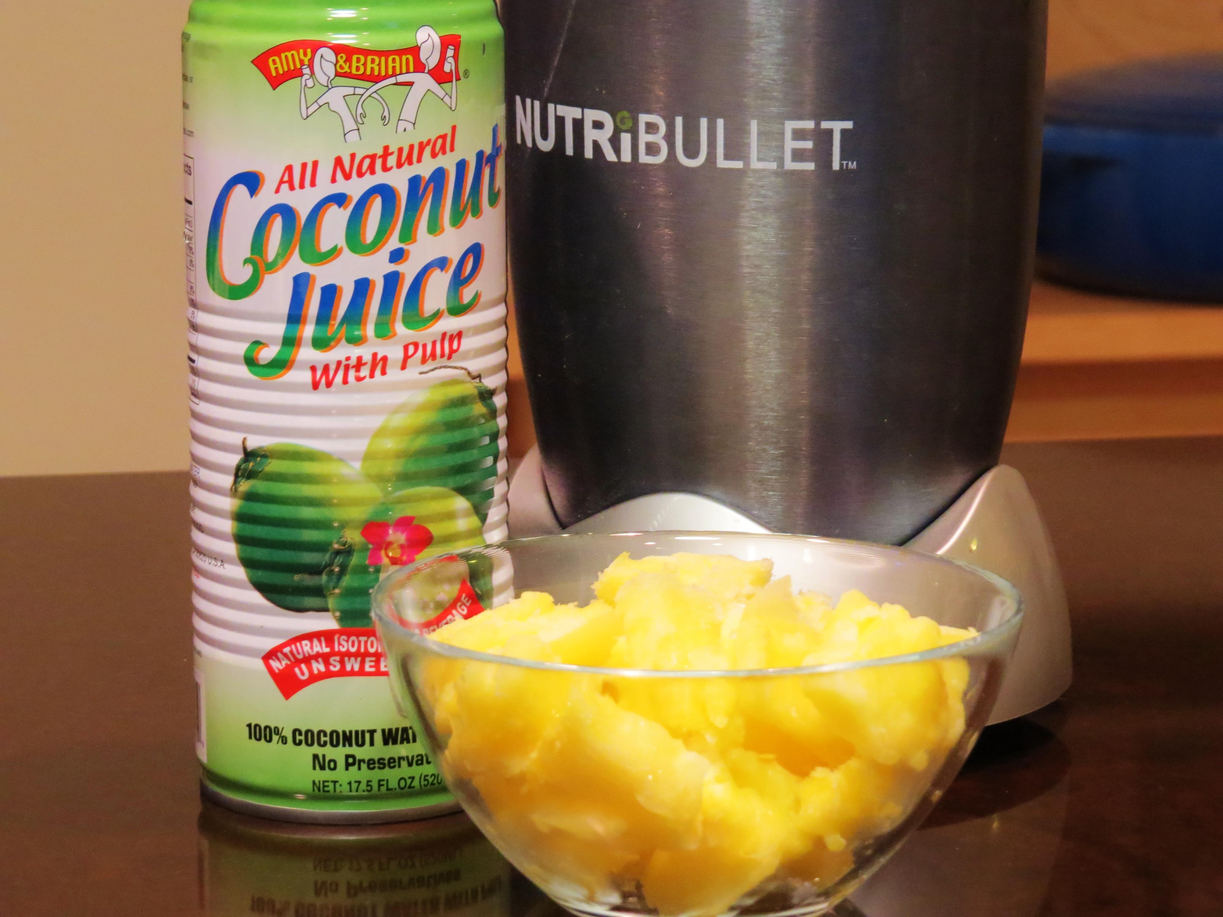 2 ingredient sorbet in my NutriBullet. Only frozen pineapples and coconut juice
