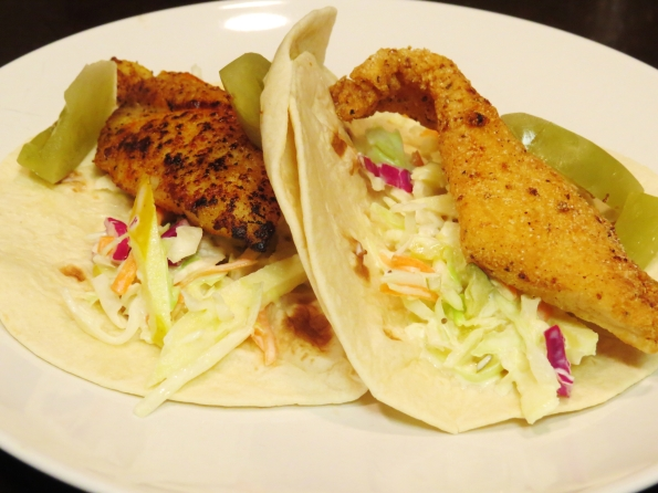 tale of two tacos; blackend catfish left, fried catfish right. The ...