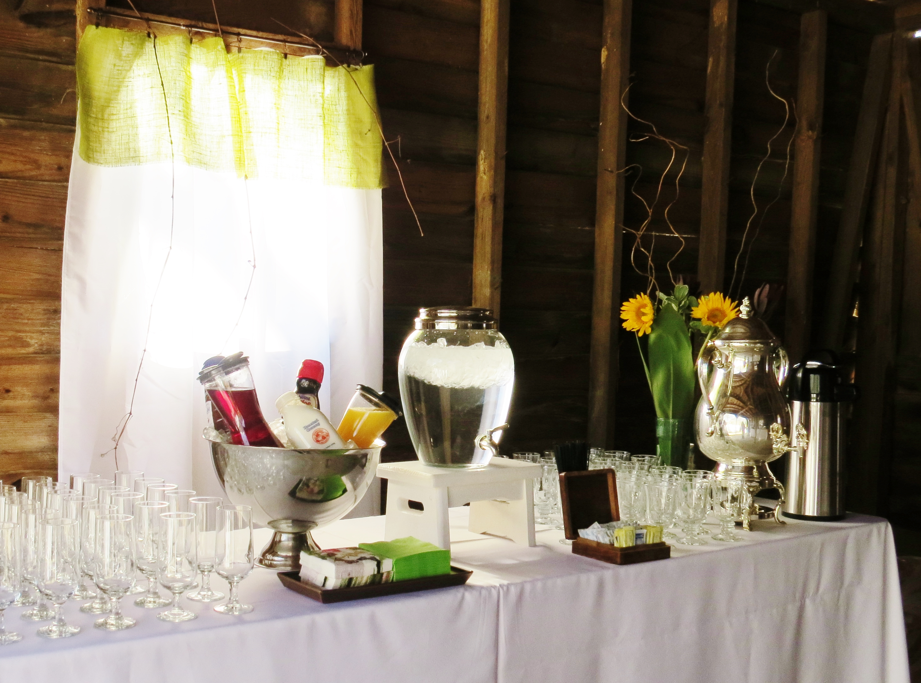 Beverage station at the brunch. Coffee, juices and water