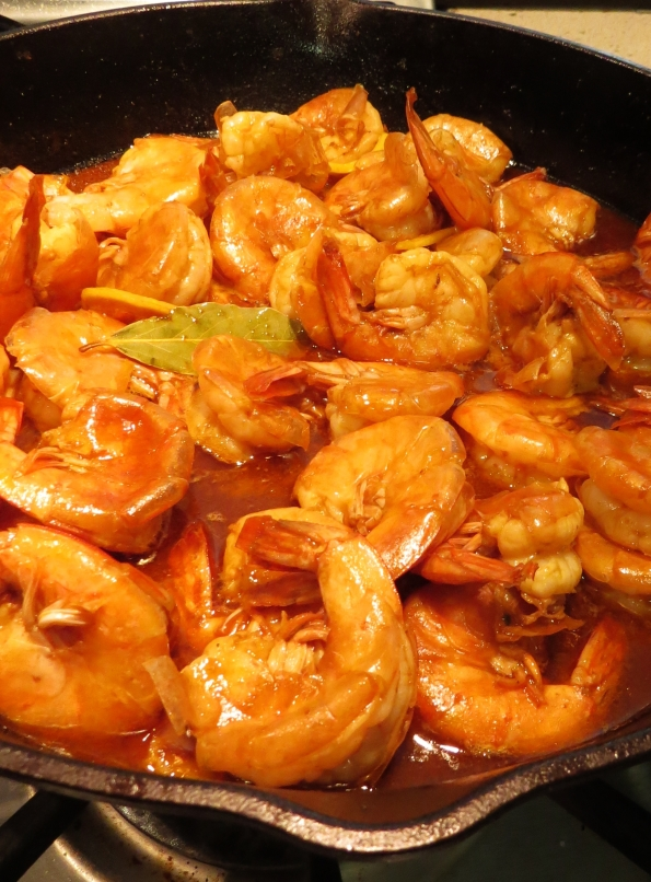 BBQ shrimp in cast iron pot
