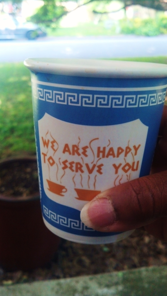 The deli guy that takes your order may not tell you that he's happy to serve you so the cups do it for him.  I LOVE NY