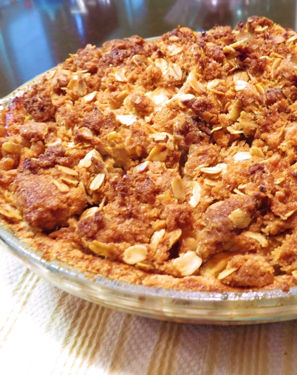 The finished apple pie, whole wheat crust and oatmeal crunch topping.