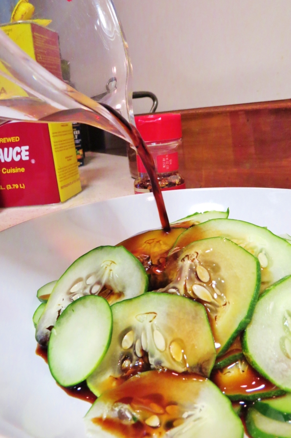 Pour the simple dressing over the cucumbers