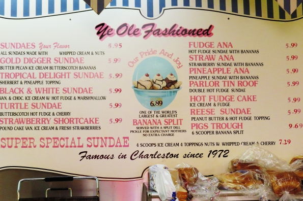 ice cream menu at Ye Ole Fashioned, Savannah Hwy-West Ashley-Charleston, SC