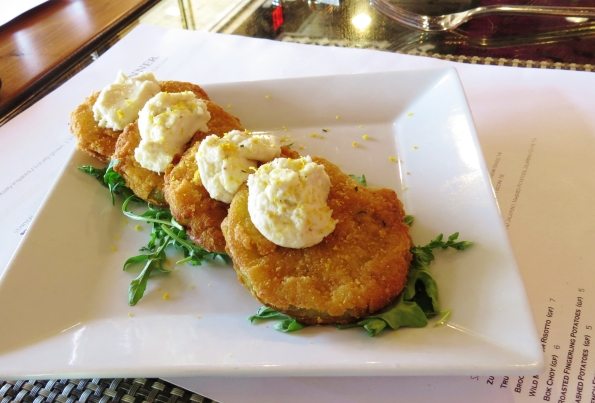 Fried green tomatoes with fig goats cheese