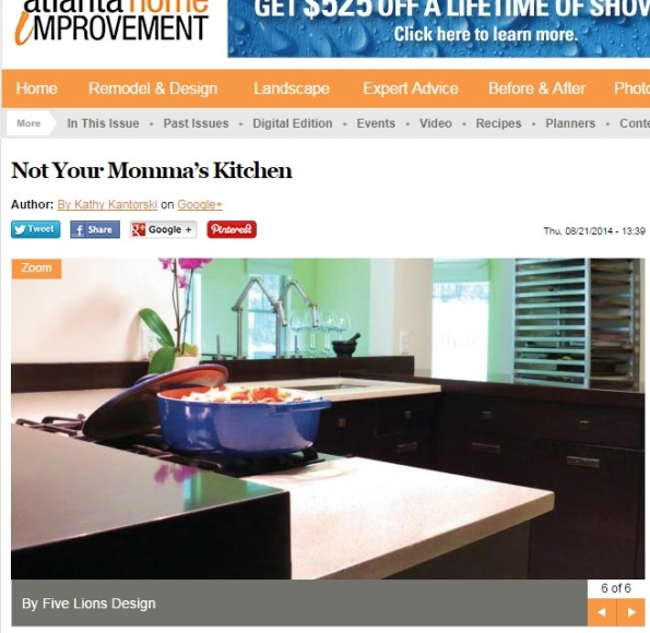 The Sweet Savant kitchen featured in Atlanta Home Improvement Magazine