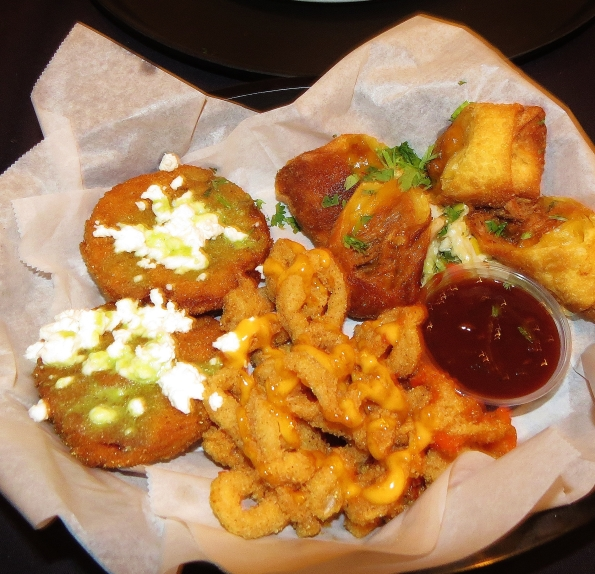 Fried green tomatoes, calamari and BBQ egg rolls